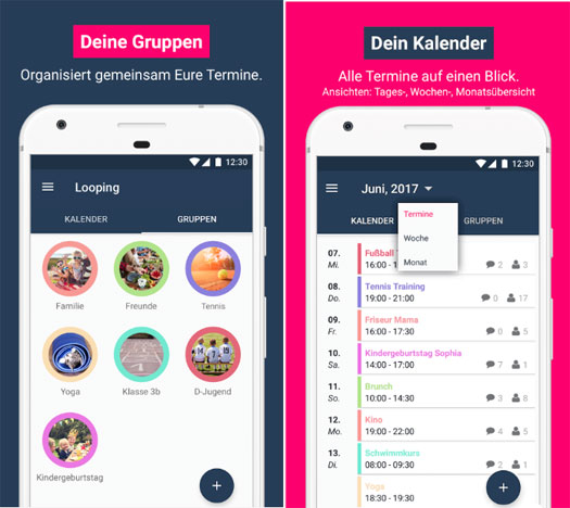 app der woche f r android looping dein familienkalender to do liste von familynet. Black Bedroom Furniture Sets. Home Design Ideas