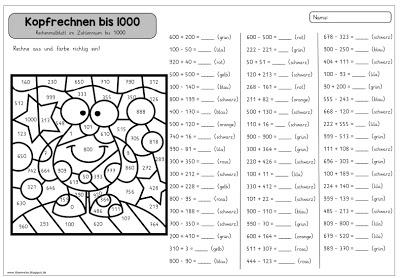 rechenmalblatt kopfrechnen bis 1000 link und materialsammlung f r lehrer auf. Black Bedroom Furniture Sets. Home Design Ideas