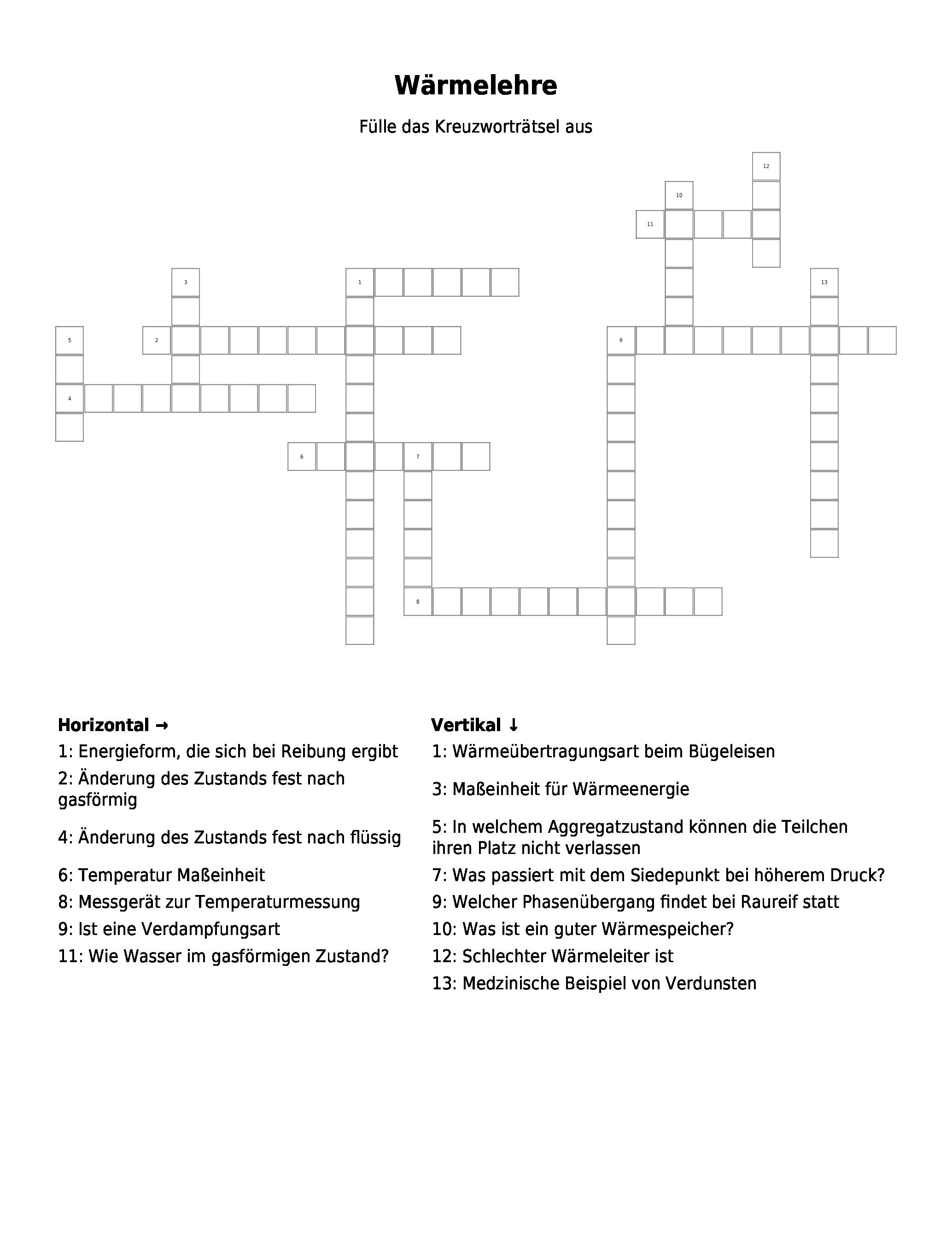 Die Aggregatzustände – Kreuzworträtsel   Link  und ...